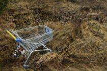 Close-up of empty shopping trolley in field — Stock Photo