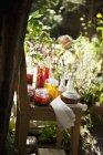 Varios aceites de hierbas en la silla en el jardín del campo - foto de stock