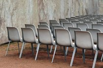 Row of chairs for open air event — Stock Photo