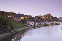 Saarburg on the river Saar at dusk — Stock Photo