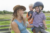 Mother and children together at childrens camp — Stock Photo