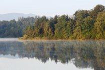 Région de Rupertiwinkel, Laufen, Abtsdorfer voir avec reflet des arbres, Haute-Bavière, Bavière, Allemagne — Photo de stock