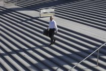 Businessman walking on stairs with briefcase — Stock Photo