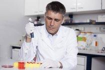 Ученый наливает красную жидкость пипеткой — стоковое фото