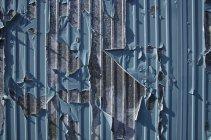Peeling peinture bleue sur récipient métallique gris — Photo de stock