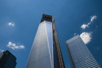 USA, New Yorck City, Ground Zero, construction site of One World Trade Center, view from below — Stock Photo