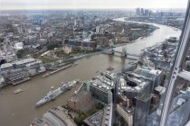 Great Britain, Endland, London, Southwark, View from The Shard to Tower Bridge and War ship HMS Belfast — Stock Photo