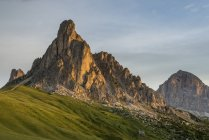 Italy, Veneto, Province of Belluno, Giau Pass, Monte Nuvolau at sunrise — Stock Photo