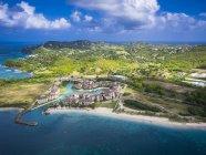 Foto aérea de Caribe, Santa Lúcia, Rodney Bay, Cap Estate, dos desembarques o Hotel — Fotografia de Stock