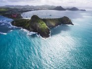 Aerial view of Pigeon Island National Park and Fort Rodney, Cap Estate, St. Lucia, Caribbean — Stock Photo