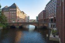 Germany, Hamburg, Heiligengeist bridge over water at the Alsterfleet — Stock Photo