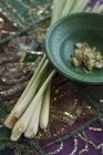Close up of lemongrass in bowl on table — Stock Photo