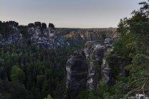 Germania, Sassonia, Svizzera sassone, formazione rocciosa Bastei — Foto stock