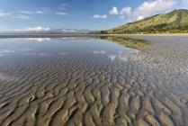 Nueva Zelanda, Tasmania, Golden Bay, Pakawau, reflejos de las nubes en el agua y las estructuras en la arena durante la marea baja - foto de stock