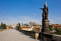 Czech Republic, Prague, Charles Bridge, Statue of St. John the Baptist during daytime — Stock Photo