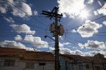 Brazil, Sao Paulo, View of power pole against sky — Stock Photo