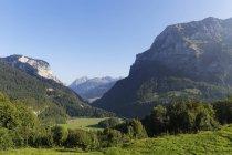 Valle de Bregenzerach cerca de Schnepfau, Kanisfluh montaña a la derecha, bosque de Bregenz, región de Bregenzerwald, Vorarlberg, Austria - foto de stock