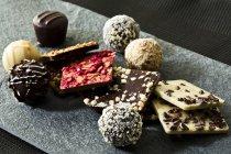 Variedade de chocolates Praline, close-up — Fotografia de Stock