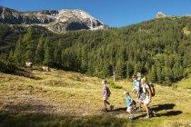 Família caminhando nas montanhas — Fotografia de Stock