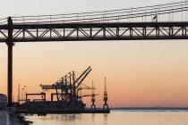 Bridge at River Tagus and city p — Stock Photo