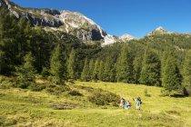 Austria, Salzburg, Family hiking at Altenmarkt-Zauchensee — Stockfoto