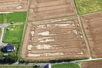 Aerial view of fields with straw rolls at Rhineland Palatinate, Germany — Stock Photo