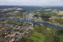 Europe, Germany, Rhineland Palatinate, Aerial view of confluence of river Ahr and river Rhine, town of Kripp in foreground — Stock Photo