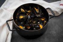 Gros plan des moules bleues biologiques dans la casserole — Photo de stock