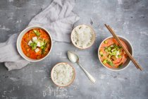Red curry dish with smoked tofu — Stock Photo