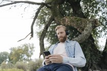 Hombre con smartphone y auriculares escuchando música al aire libre bajo el árbol - foto de stock