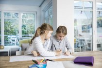 Due ragazze che fanno i compiti a tavola insieme — Foto stock