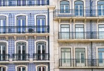 Portugal, Lisbon, facades of two multi-family houses, partial view — Stock Photo