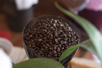 Gros plan de grains de café torréfiés dans le bol — Photo de stock