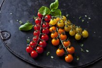 Fresh colorful cherry tomatoes and salad leaves on dark grunge background — Photo de stock