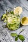 Детоксикационная вода, огуречная вода, лимон, мята в стакане — стоковое фото