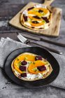 Homemade pizza with pumpkin and beetroot — Stock Photo