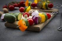 Espetos crus da grade do vegetariano — Fotografia de Stock