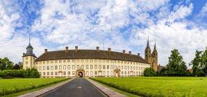 Germany, North Rhine-Westphalia, Hoexter, Carolingian Westwork and Civitas Corvey — Stock Photo