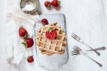 Gaufres belges aux fraises et sucre en poudre — Photo de stock