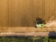 Serbia, Vojvodina. Combine harvester on a field of wheat, aerial view — Stock Photo