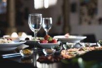 Italian food, pizza, salads and risotto — Stock Photo