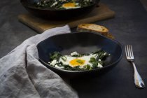 Bowl of green Shakshouka with baby spinat, chard, spring onions and basil — Stock Photo