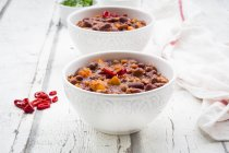 Bowls of Chili con Carne — стоковое фото
