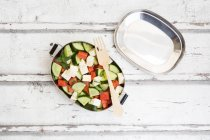 Lunch box, watermelon salad with feta, cucumber, ment and lime dressing — Foto stock
