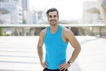 Portrait of handsome man training in city — Stock Photo
