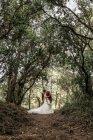 Наречений і наречена цілуються пристрасно під великі дерева в лісі — стокове фото