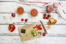 Close up of ingredients for Preparing Gazpacho — Foto stock