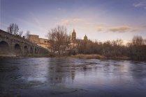 Spanien, Kastilien und Leon, Salamanca, Blick auf Stadt und Kathedrale, Rio Tormes — Stockfoto