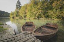 Хорватія, Національний парк Плітвіцькі озера, гребні човни на пристані — стокове фото