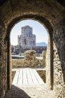 Grécia, Peloponeso, Messênia, Metoni, Fortaleza, Torre Burtzi e Ilha Sapientza ao fundo — Fotografia de Stock